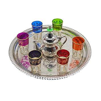 Juego de té moruno, árabe, Marruecos. 6 vasos más tetera de alpaca para dos personas y una bandeja de alpaca de 33 cm aproximadamente: Amazon.es: Hogar