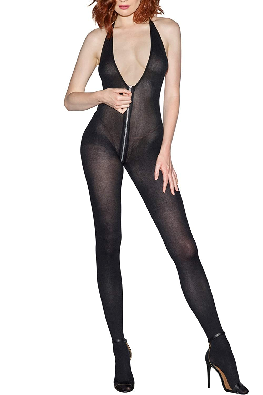 495d41263f Amazon.com  Dreamgirl Women s Semi-Opaque Bodystocking with Front To Back  Zipper
