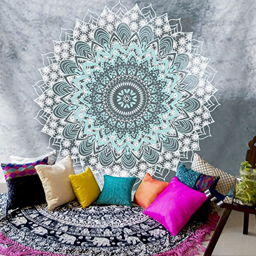 "BLEUM CADE Sunfreem Tapestry Wall Hanging Indian Mandala Tapestry Bohemian Tapestry Hippie Tapestry Psychedelic Tapestry Wall Decor for Living Room Bedroom (Mandala, 70.8""X92.5"")"