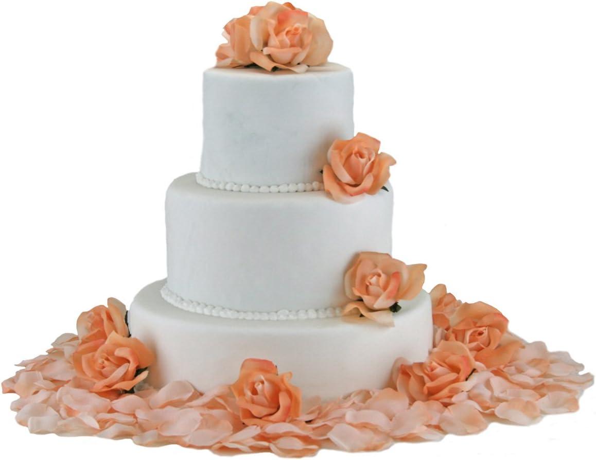 Amazon.com: TheBridesBouquet Peach Silk Rose Cake Flowers - Reception  Decoration: Home & Kitchen