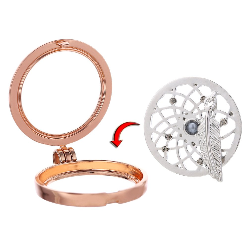 Morella Mujeres Collar 70 cm Acero Inoxidable de Oro Rosa y Colgante Amuleto Coin 33 mm en Bolsa para Joyas