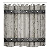 DYNH Rustic Barn Door Shower Curtain wooden, Wood with Metal Texture Western Country Theme House Decor, Mildew Resistant Fabric Bathroom Decor, Bath Curtains Accessories, with Hooks, 69X70 Inches