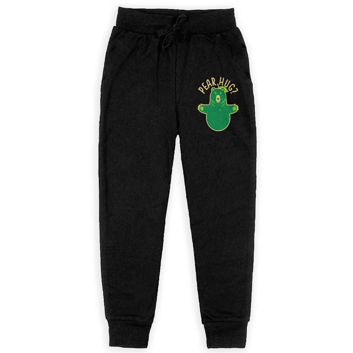 Dunpaiaa PEAR Hug Boys Sweatpants,Joggers Sport Training Pants Trousers Black