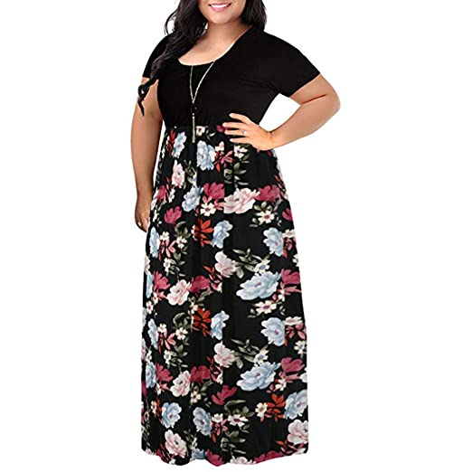Women Plus Size Tank Maxi Dress, Lady Summer Short Sleeve ...