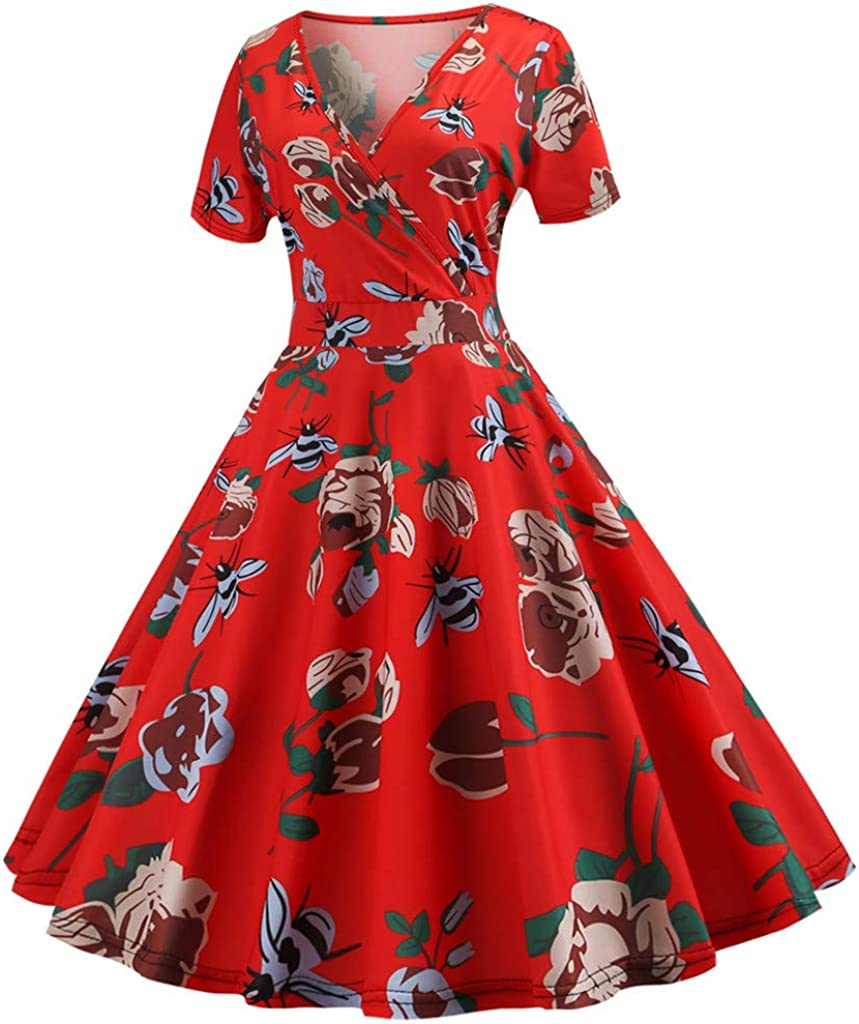 1920 Dresses for Women,omen Vintage 1950s Retro Short Sleeve Print Evening Party Gown Prom Swing Dress