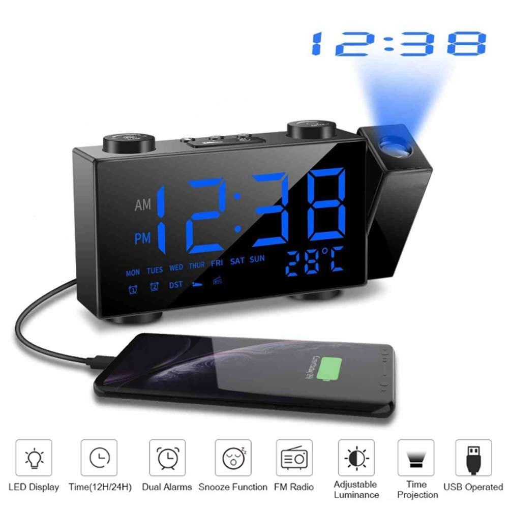 Projection Clocks LED FM Radio Alarm Clock Digital Time Projection Desk Clock Snooze Function Temperature Display USB Charge Backlight Table Clock,Blue by LLVV