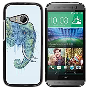 PC/Aluminum Funda Carcasa protectora para HTC ONE MINI 2 / M8 MINI Elephant Trunk Art Painting Wild Animal / JUSTGO PHONE PROTECTOR