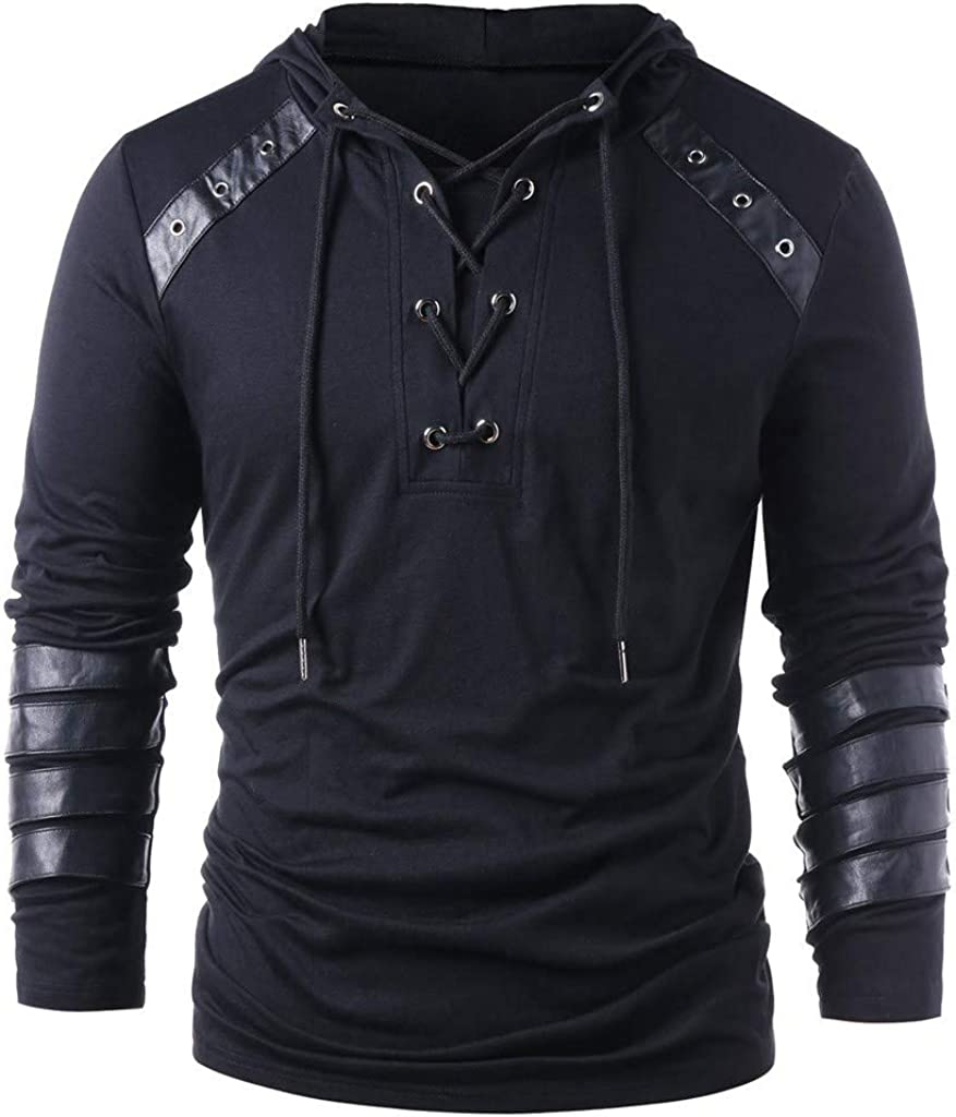TIMEMEANS Hoodies for Men Winter Drawstring Vintage Leather Patchwork Long Sleeve Hooded Tops Blouses