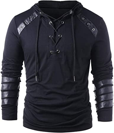 YUNY Men Pullover Floral Printed Drawstring Hooded Hoodies Shirts Grey M