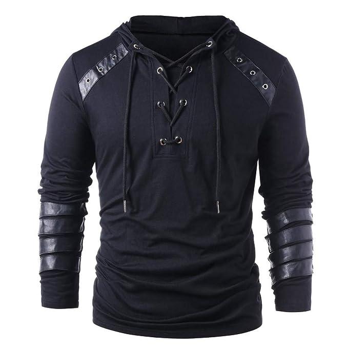 7f24fab12 Elevin(TM) 👍👍 Men Hooded T Shirt Long Sleeve Tops Blouses Winter ...
