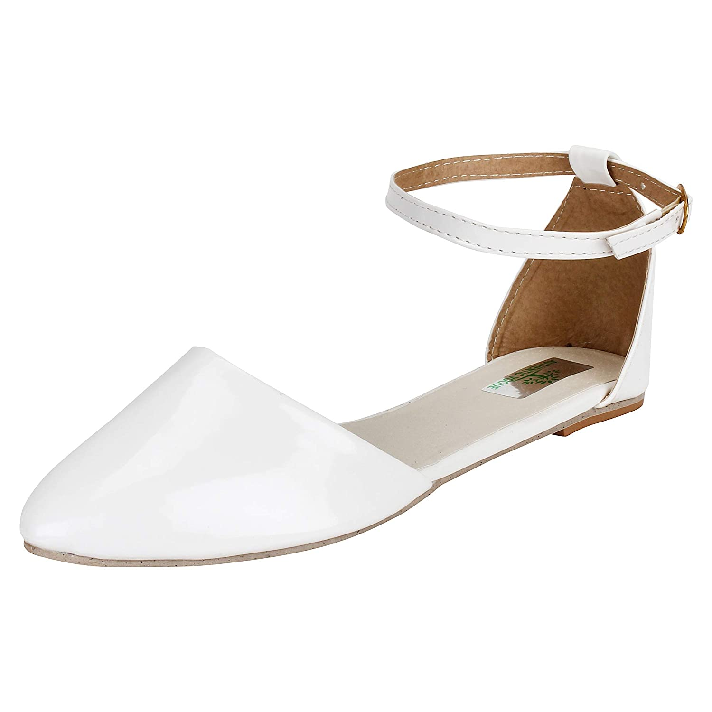 AUTHENTIC VOGUE Women's Ankle Strap Flat White Sandals