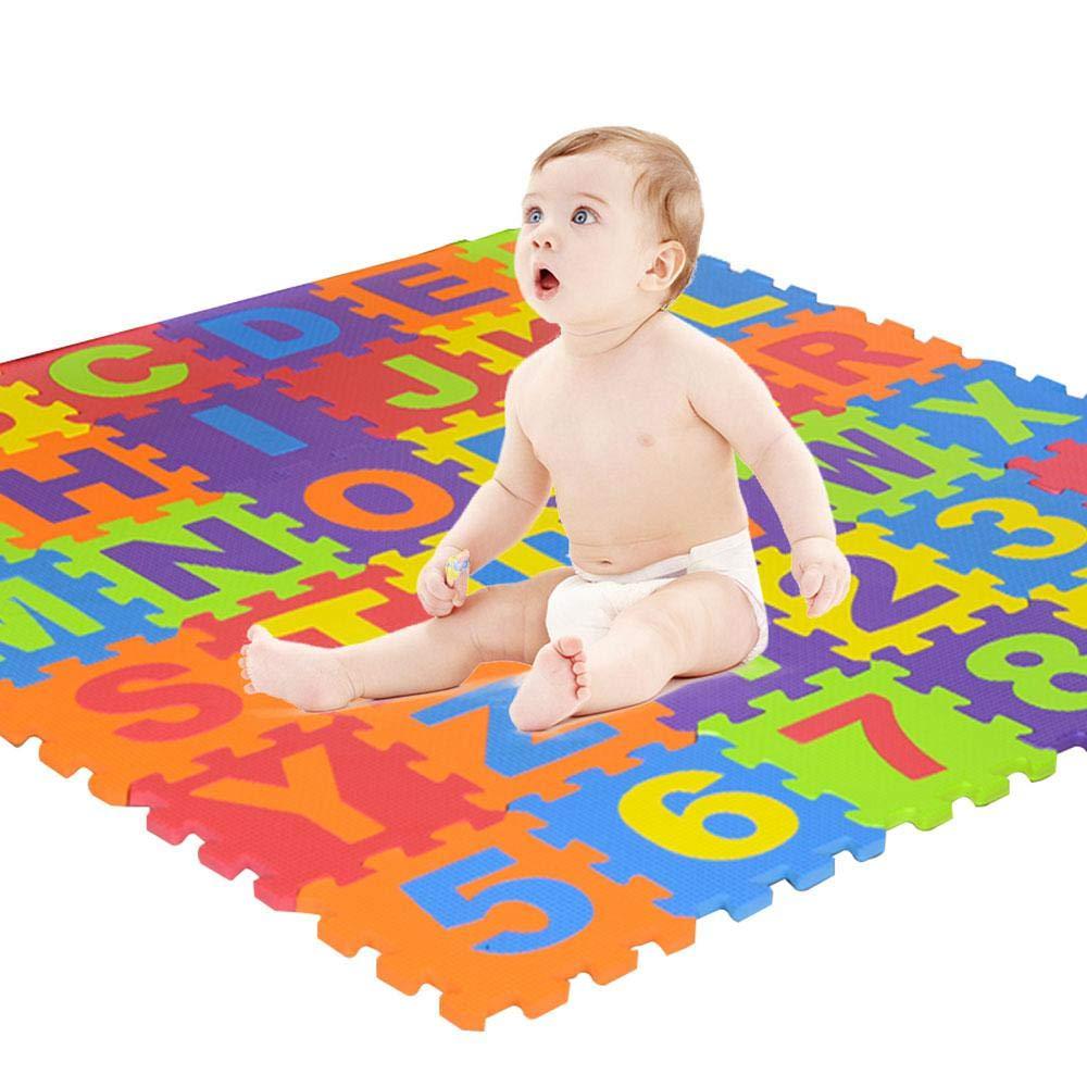 KOBWA Tapis de Jeu Pliable en Mousse Tapis de Sol carré en Mousse Alphabet Lettres et Chiffres, Puzzle Alphabet pour Enfants pour Tout-Petits