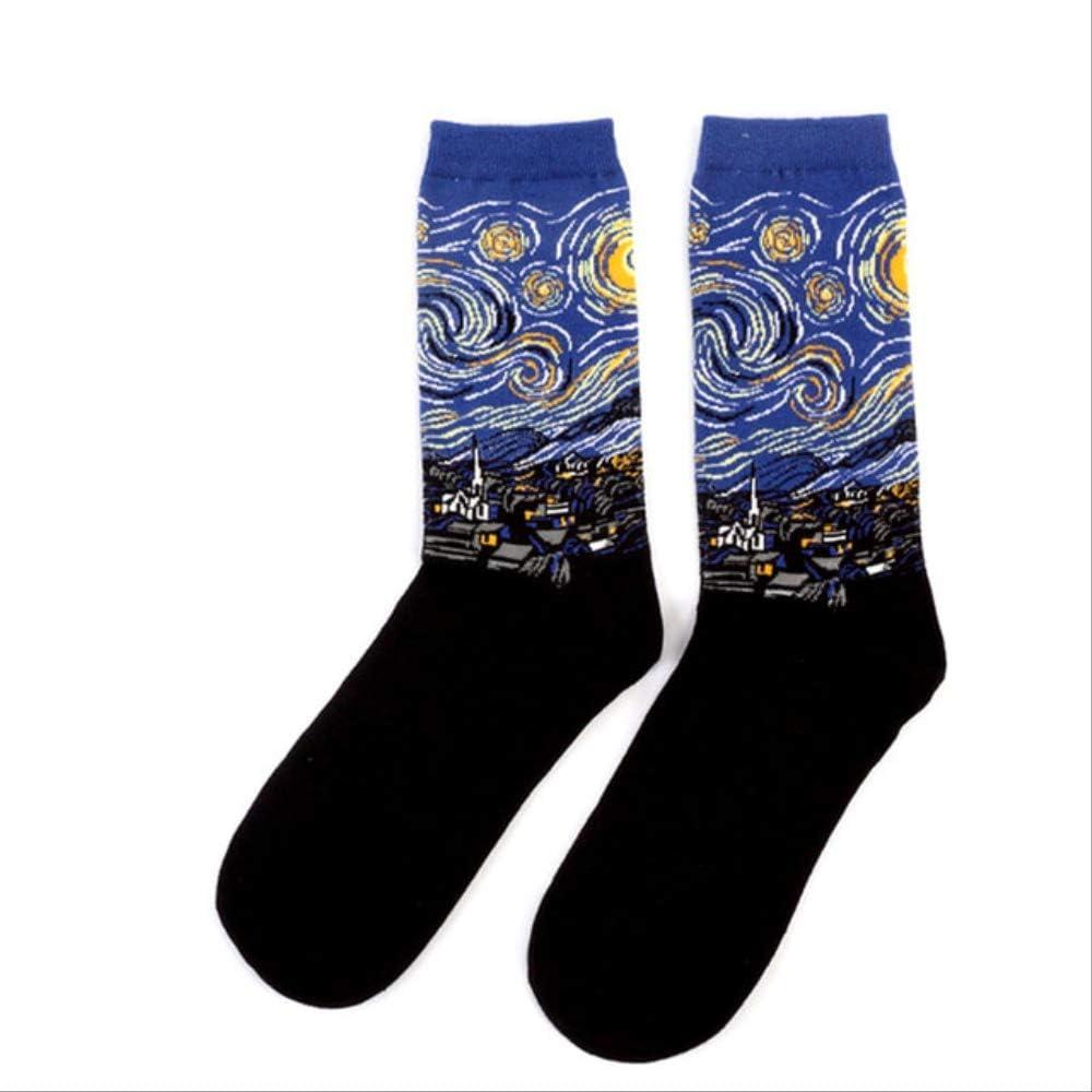 QZHYGE Moda Autunno E Inverno retr/ò personalit/à Femminile Arte Van Gogh Murale World Famous Pittura ad Olio Serie Calze da Uomo Fun Happy Socks A