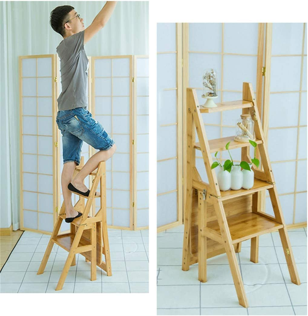 W-life Three-step Ladder, Multi-function Indoor Mobile Ascending Ladder Folding Step Stool Seat Bar Chair (Color : Brown) Wood