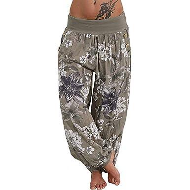 Shujin - Pantalones Bombachos para Mujer, Estilo Bohemio ...