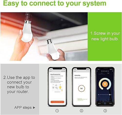 Smart LED Light Bulb,E26 WiFi Dimmable LED Bulbs,A19 60W Equivalent Smart Bulb,No Hub Required,UL Listed,2.4G Not 5G