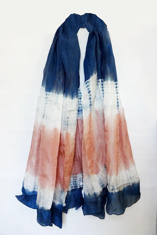"100% Habotai Silk Tie Dye Crinkled Stole 42"" x 72"" - Blue/White/Brick Red (Extra Wide)"