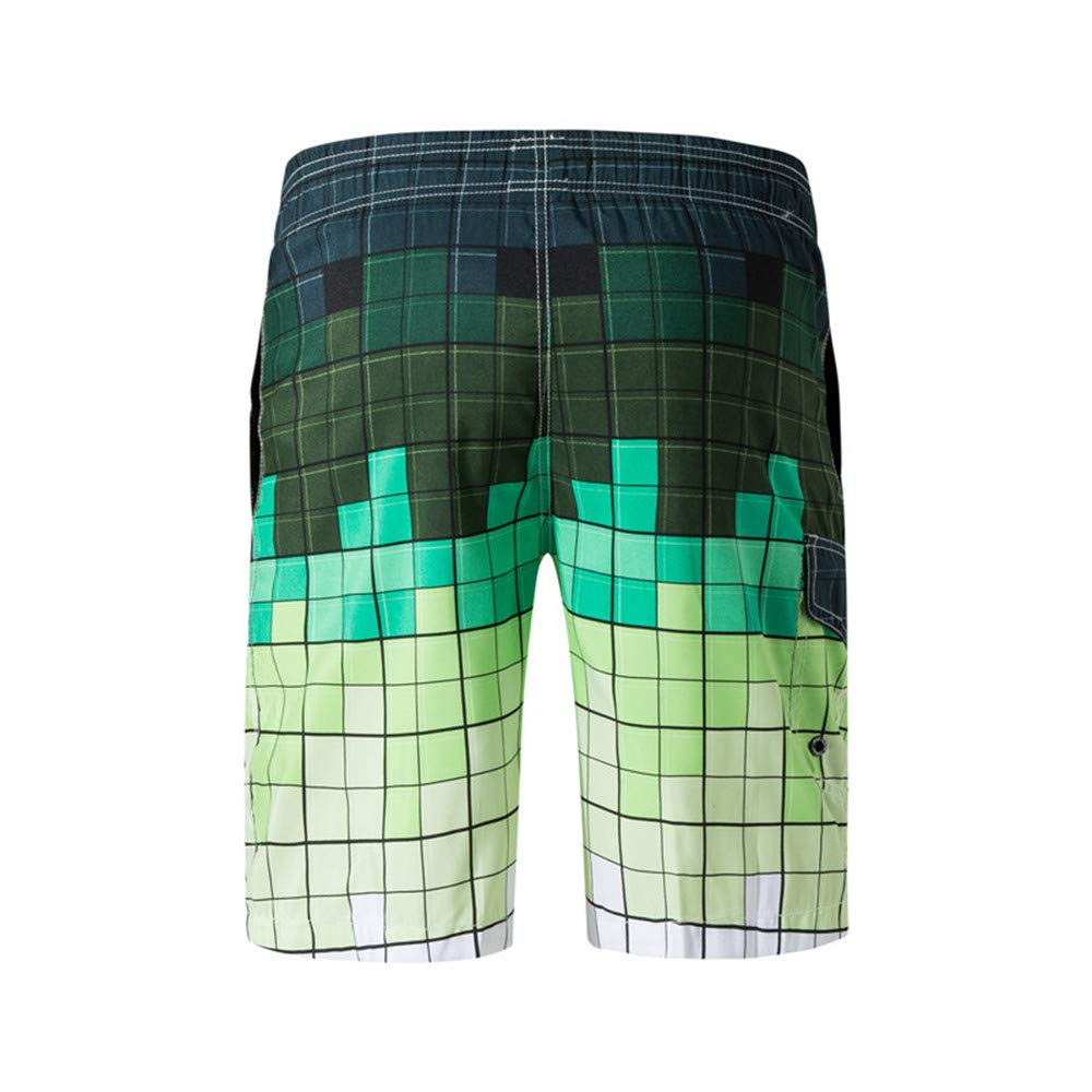 Ophestin Mens Quick Dry Swim Trunks - Gradient Color Beach Shorts with Mesh Lining Green