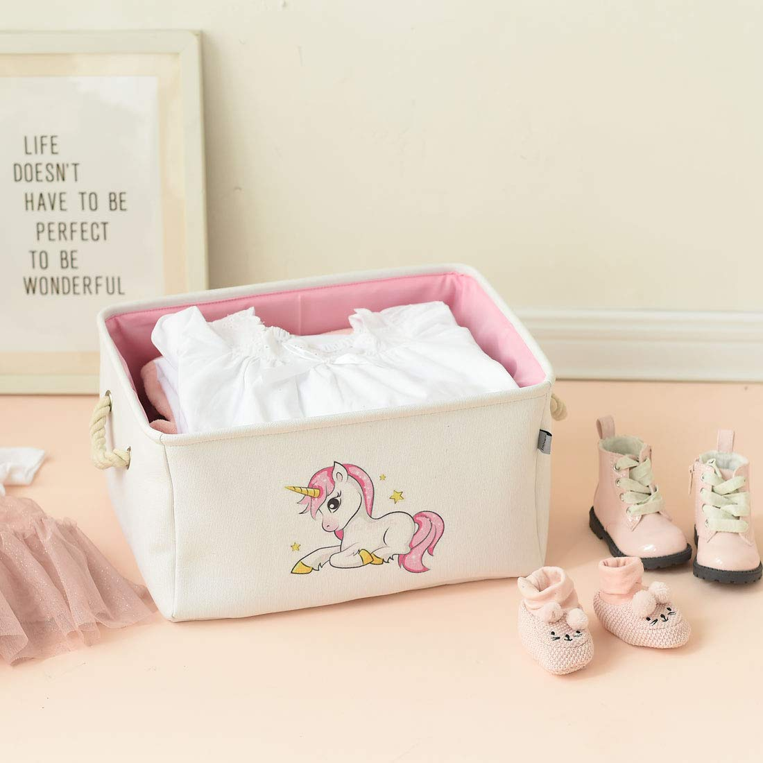 INough Floral Storage Bins,Collapsible Storage Basket Toys Clothes Crafts Organizer Fabric Laundry Baskets Storage Bin with Handle for Underbed Closet Cube Small, Floral