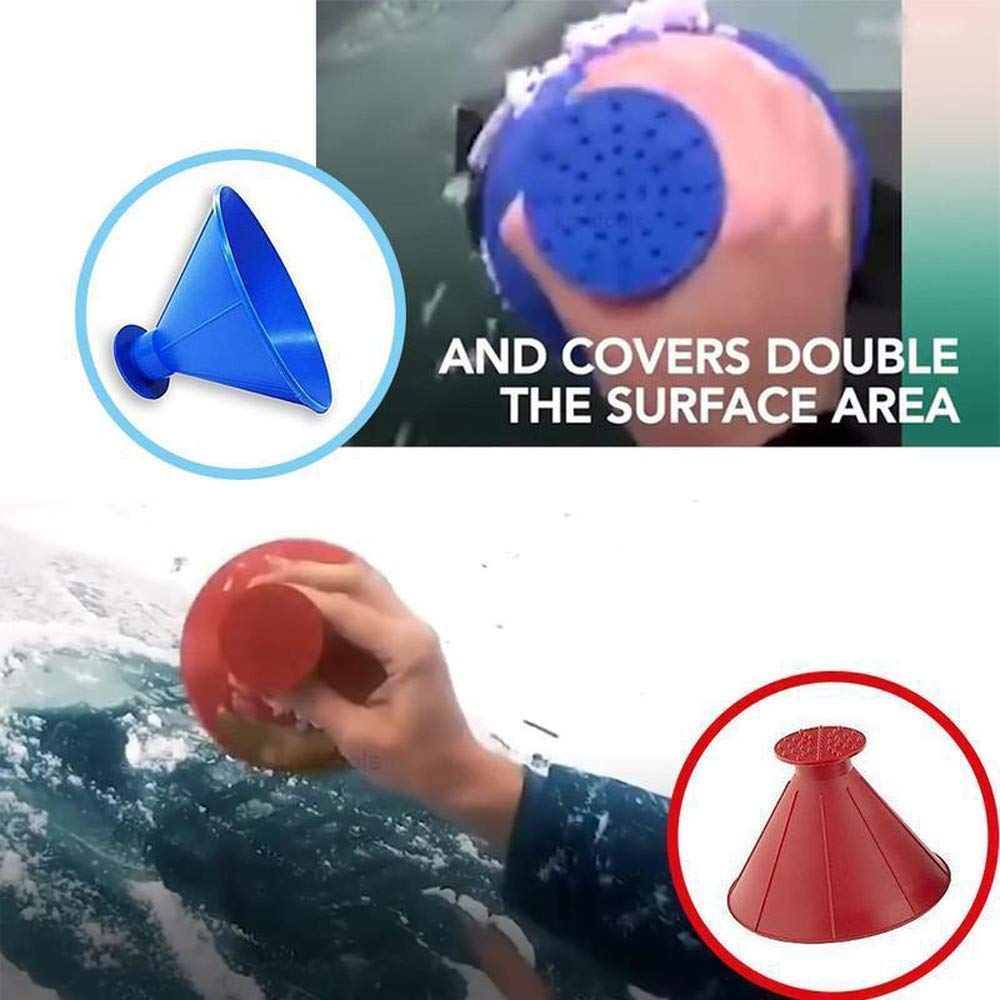 FIVE CENTS Car Window Glass Cleaning Tool Cone Ice Scraper Outdoor Funnel Windshield Snow Remover Car Tool Scrape Round Ice Scraper Red
