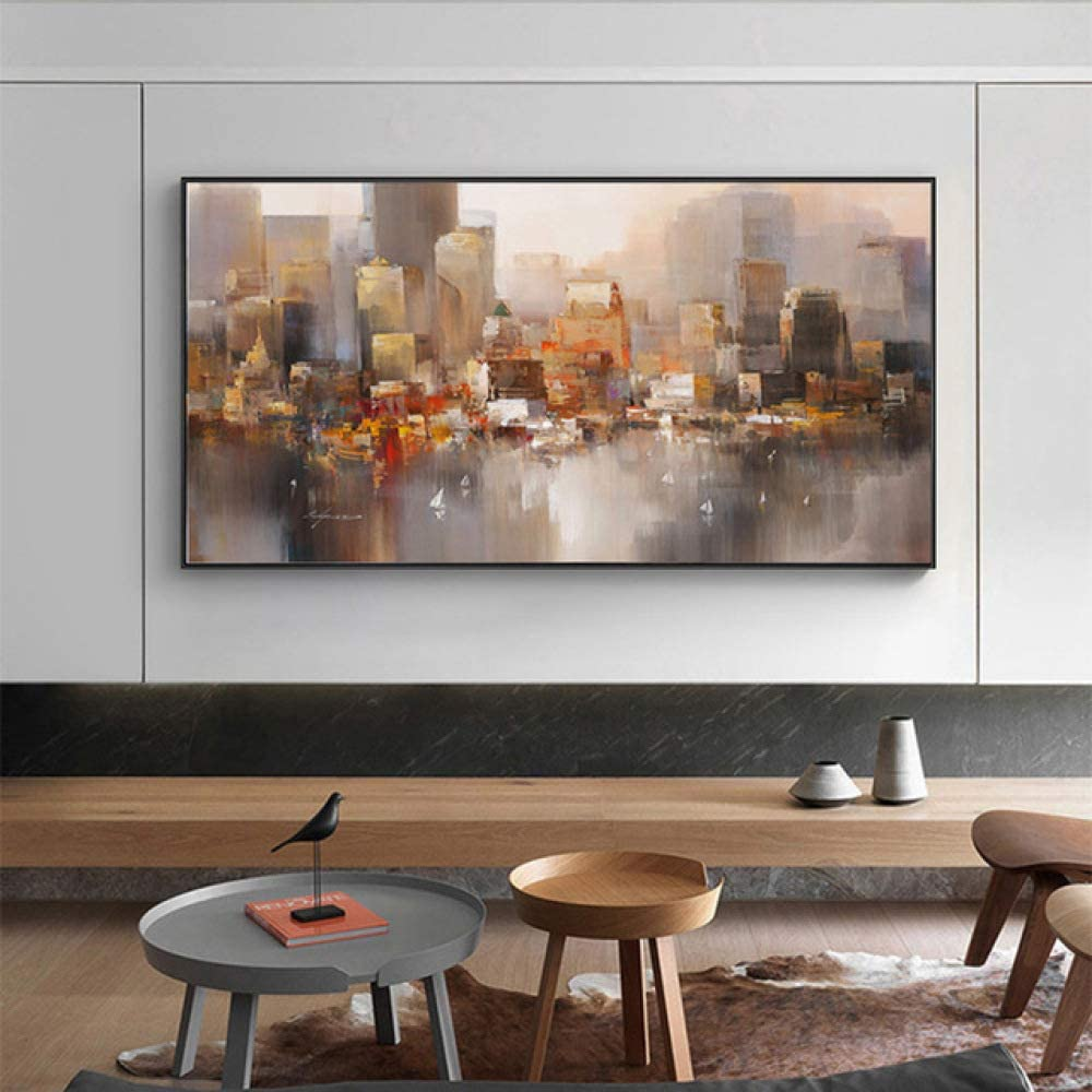 zxddzl Edificio Urbano Lluvia Barco Imagen Arte Abstracto Lienzo Pintura Moderna Decorativa Pintura al óleo Cuadro de Pared 70x140cm w2027
