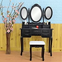 FCH Wooden Vanity Set Princess Dressing Makeup Table with Drawers&Mirrors Bedroom Bathroom Girls Vanity Table (7 Drawers,Black)