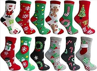 Christmas Printed Socks, Fun Colorful Festive, Crew, Knee High, Fuzzy, Or Slipper Sock by WSD (12 Pairs Crew Socks A)