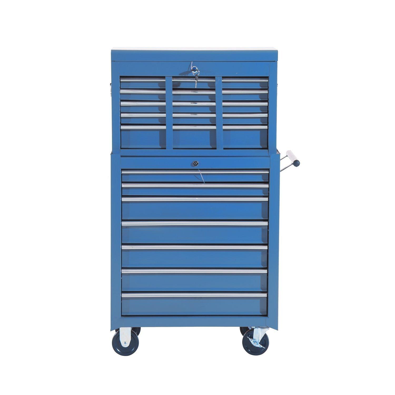 Homcom Fahrbarer Werkstattwagen, abschließbar mit 16 Schubladen ...