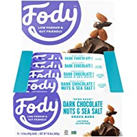 Fody Foods Vegan Protein Nut Bars   8g Protein Snack Bar   Low FODMAP Certified   Gut Friendly IBS Friendly Snacks   Gluten Free Lactose Free Non GMO   Dark Chocolate Nuts and Sea Salt, 12 Count