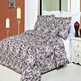 Luxurious 8 Piece Cal King Size Tustin Printed BED IN A BAG Set. IncludesDuvet CoverSet + 100% Egyptian Cotton Bed Sheet Set + DownAlternativeComforter