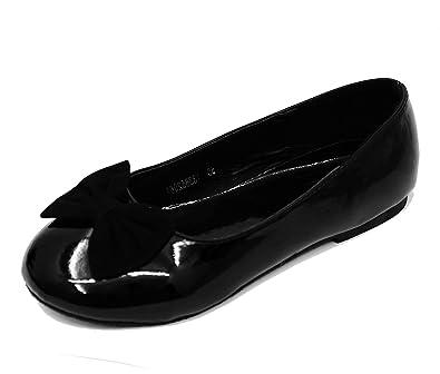 6103a5d1d0d HeelzSoHigh Kids Girls Childrens Black Patent Ballerina Pump Dolly Smart  Ballet Flat Shoes Infant Sizes UK 5-4  Amazon.co.uk  Shoes   Bags