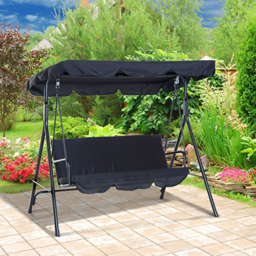 Outsunny 3 Person Steel Outdoor Porch Sling Fabric Swing