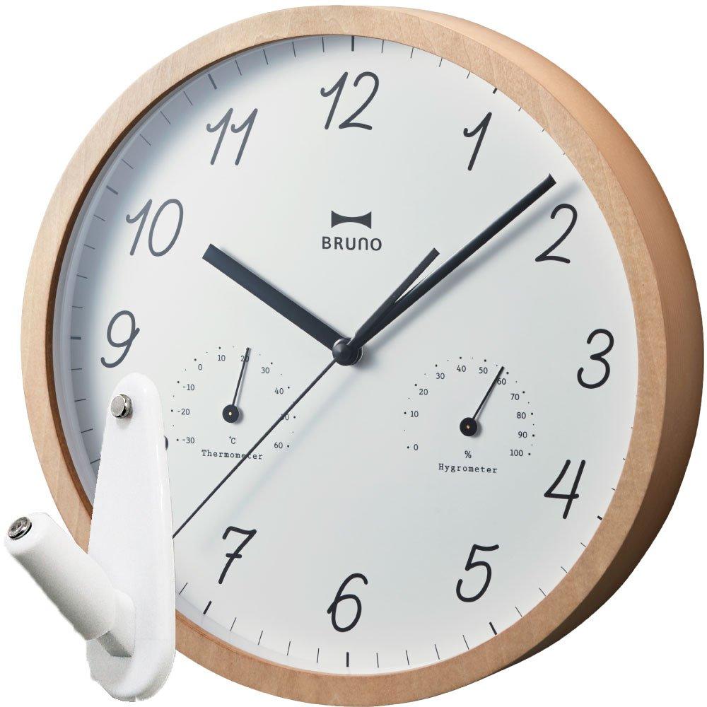 BRUNO ウッド温湿ウォールクロック BCW022 + 壁の穴が目立ちにくい時計用壁掛けフック 2点セット 掛け時計 掛時計 壁掛け時計 壁掛時計 フック おしゃれ ブルーノ イデアインターナショナル (ナチュラルウッド) B0764WPBX6ナチュラルウッド