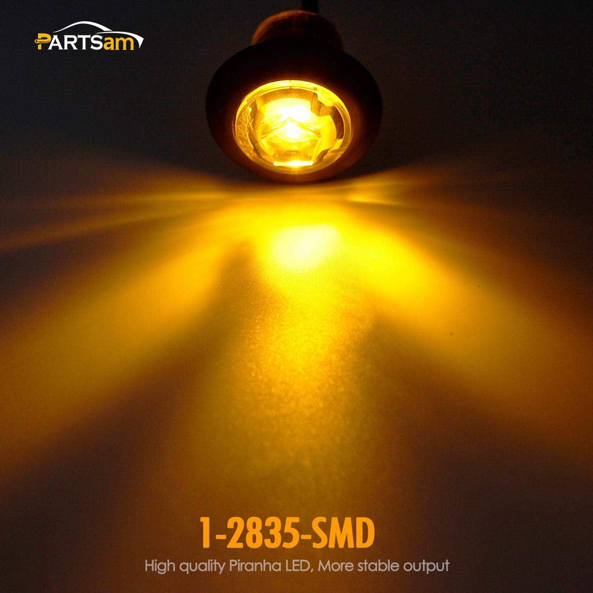 Partsam 5x3//4LED Bullet Side Markers Truck Trailer Lamp Clear Lens Two wire Blue Sealed w//Plugs