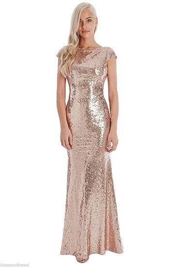2da4becba5c Goddiva Champagne Sequin Open Back Maxi Evening Dress Bridesmaid Prom Ball  Party: Amazon.co.uk: Clothing