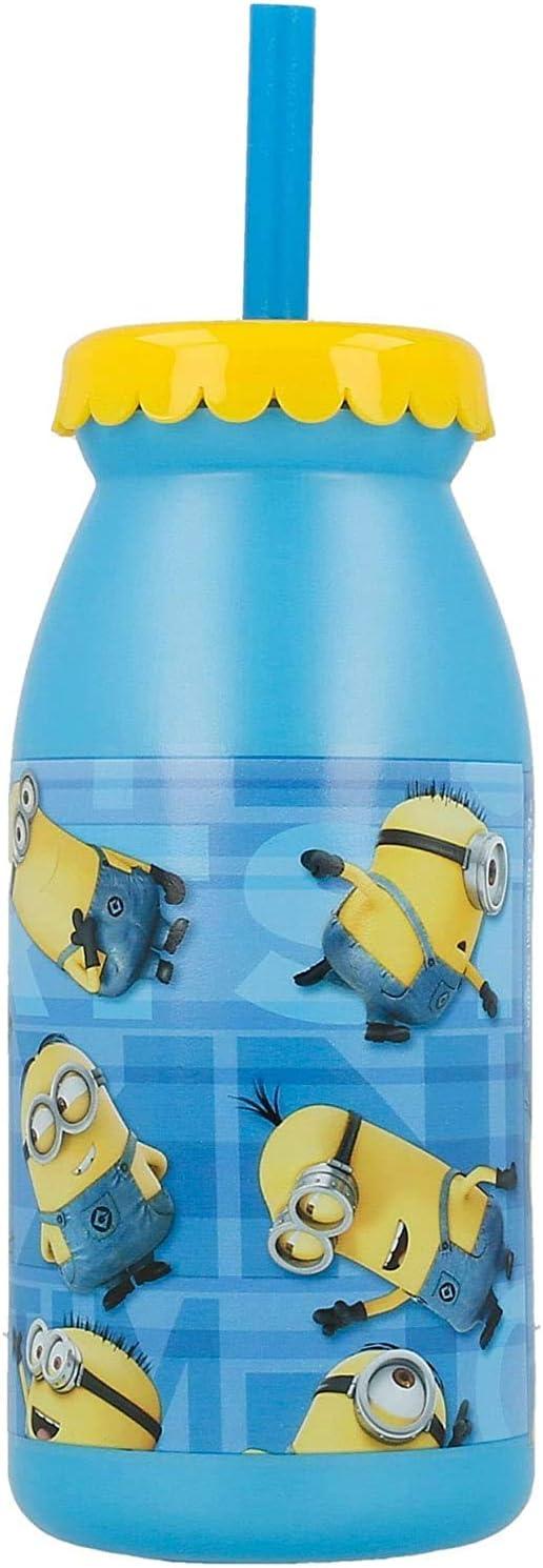 MINIONS 2086, Botella de Agua con Pajita; Capacidad 300 ml.