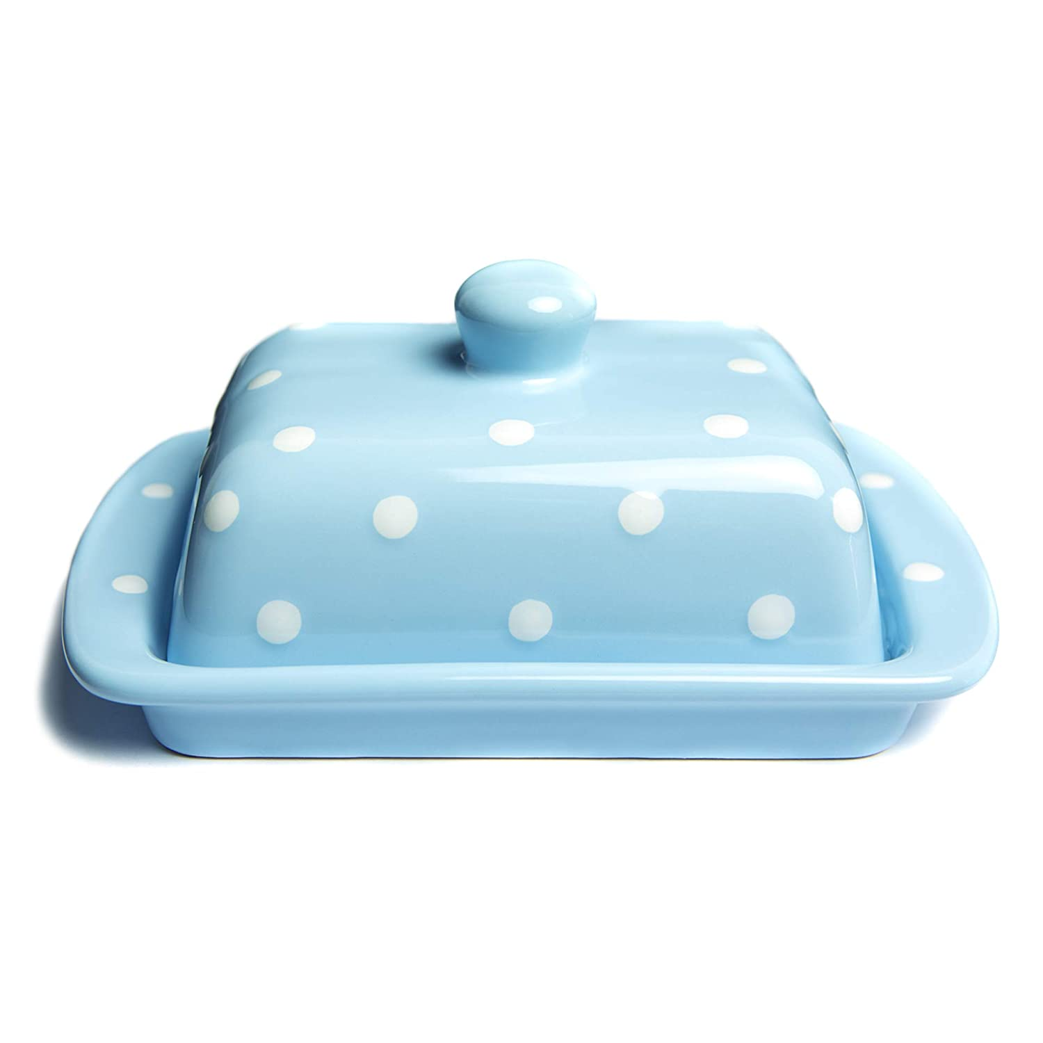 City to Cottage Light Sky Blue And White Polka Dot Spotty Handmade Hand Painted Ceramic Covered Butter Dish With Lid citytocottage.co.uk
