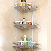 Home-Neat Bathroom Shelf (No Drilling) Durable Aluminum 3 Tiers Shower Storage Towel Bar Basket Kitchen Corner Sticky No Drills Shelves(Corner)