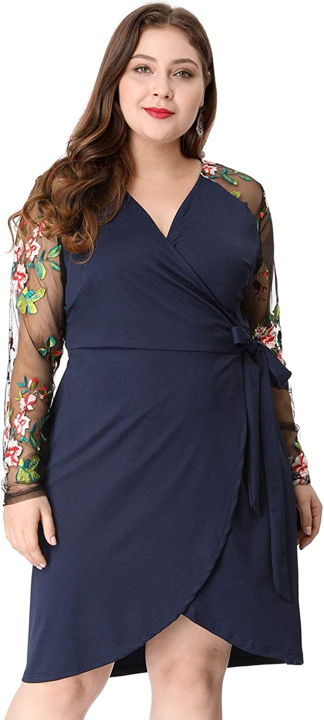 Agnes Orinda Womens Plus Size Embroidered Wrap Mesh Dress