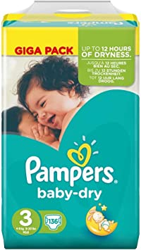 Tamaño del bebé Pampers Dry 3 Midi 4-9kg Giga Pack 4-pack (4 x 136 pañales): Amazon.es: Salud y cuidado personal