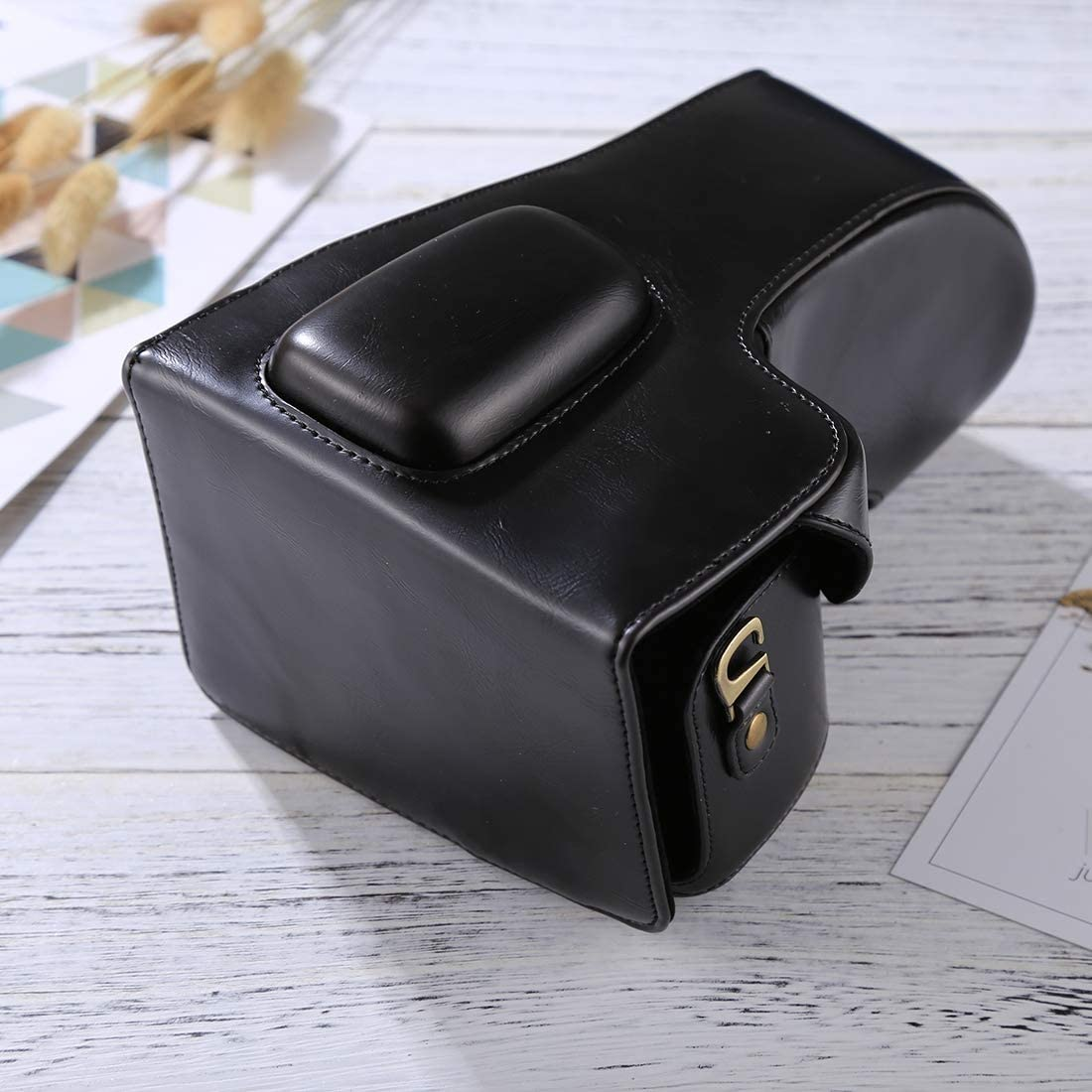 18-55mm // 18-105mm // 18-140mm Lens Color : Coffee JIN Camera Accessory Full Body Camera PU Leather Case Bag for Nikon D5300 // D5200 // D5100 Black