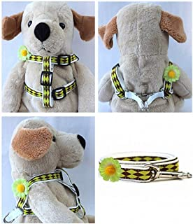 "product image for Diva-Dog 'Gerber Daisy Green' Custom 5/8"" Wide Dog Step-in Harness with Plain or Engraved Buckle, Matching Leash Available - Teacup, XS/S"