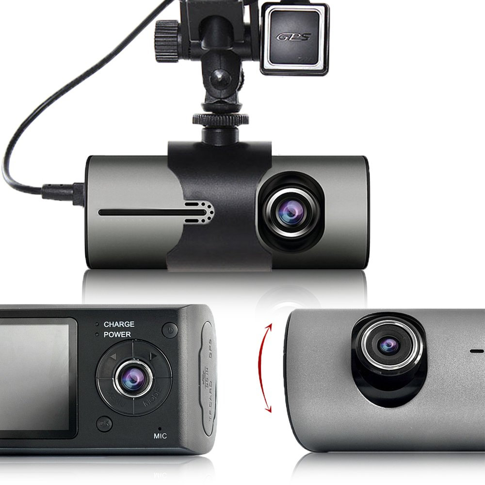 Indigi XR300 Car DVR Dash CAM + 2.7'' LCD + Dual lens (Front & Back) + G-Sensor Recording + GPS Tracker