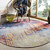Safavieh Bristol Collection BTL354F Blue and Rust Modern Abstract Distressed Round Area Rug (7′ Diameter) Review