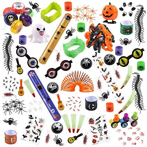 FUNNISM 146 Pieces Halloween Toys Assortment Halloween Party Favor, School Classroom Rewards, Trick Treating, Halloween Miniatures, Halloween Prizes