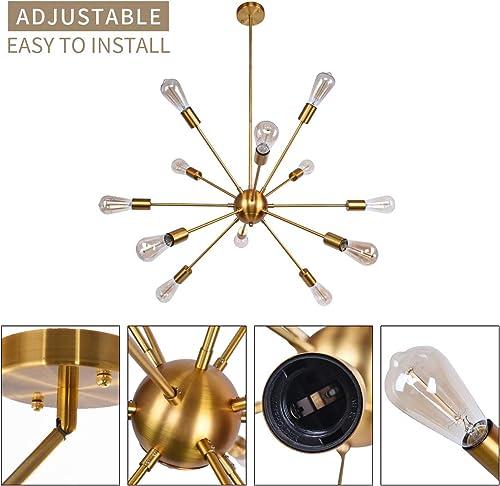 12 Lights Gold Sputnik Chandelier Lighting Modern Pendant Light Fixture Mid Century Vintage Ceiling Light