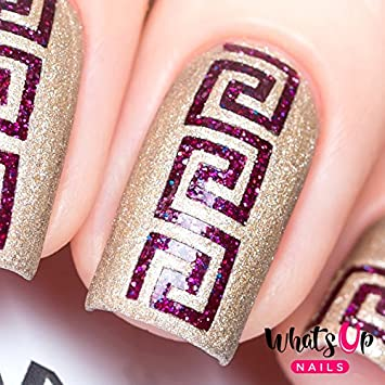 Amazon Whats Up Nails Greek Nail Stencils Stickers Vinyls For