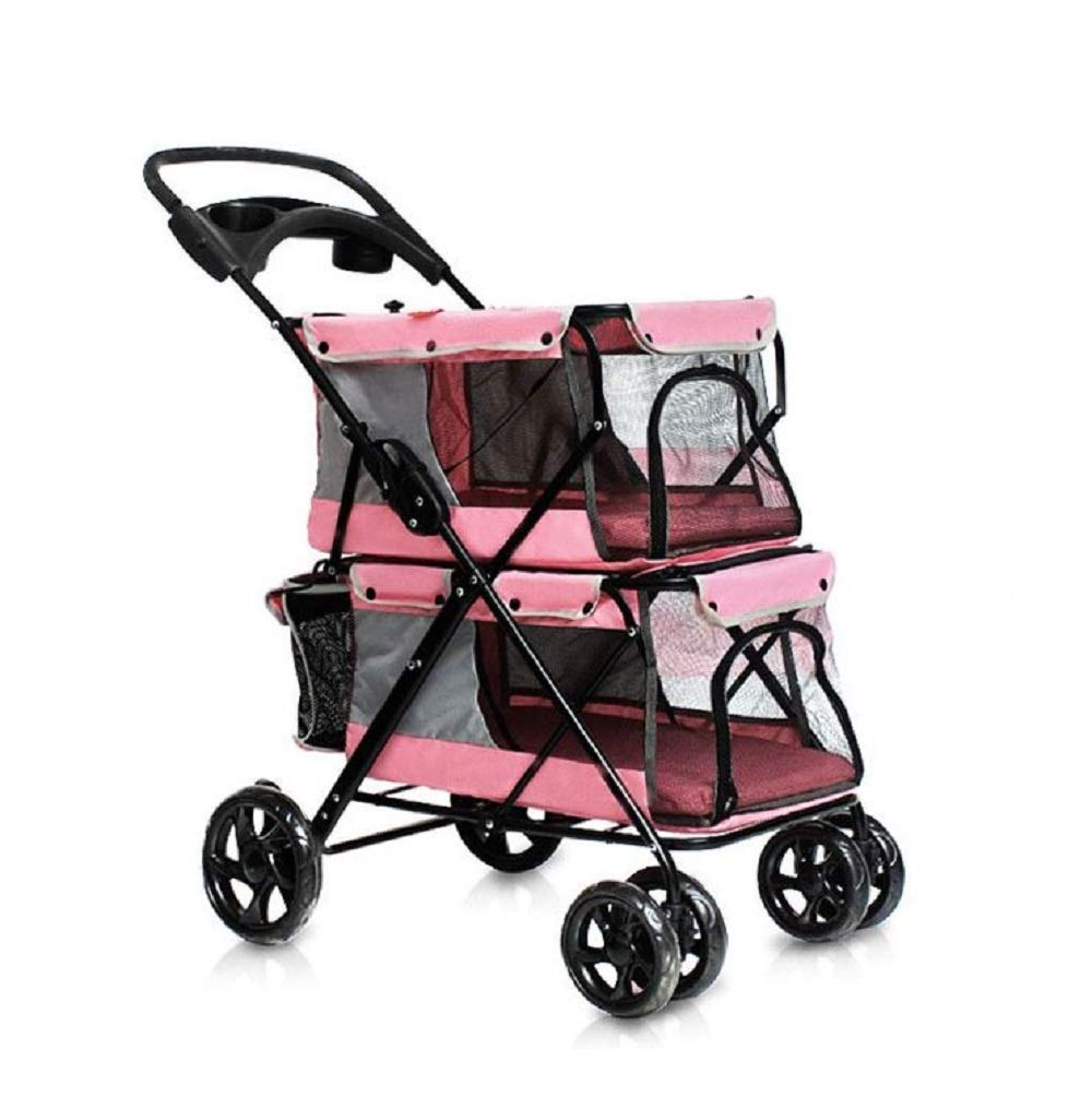 Pink GDDYQ Pet Stroller, Lightweight Folding for Multiple Pet Double-layer Carts, Shockproof and Durable for Outdoor Travel,Pink