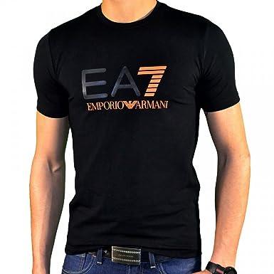 Emporio Armani Herren T-Shirt Schwarz Schwarz Gr. Medium, - NOIR 7 ORANGE