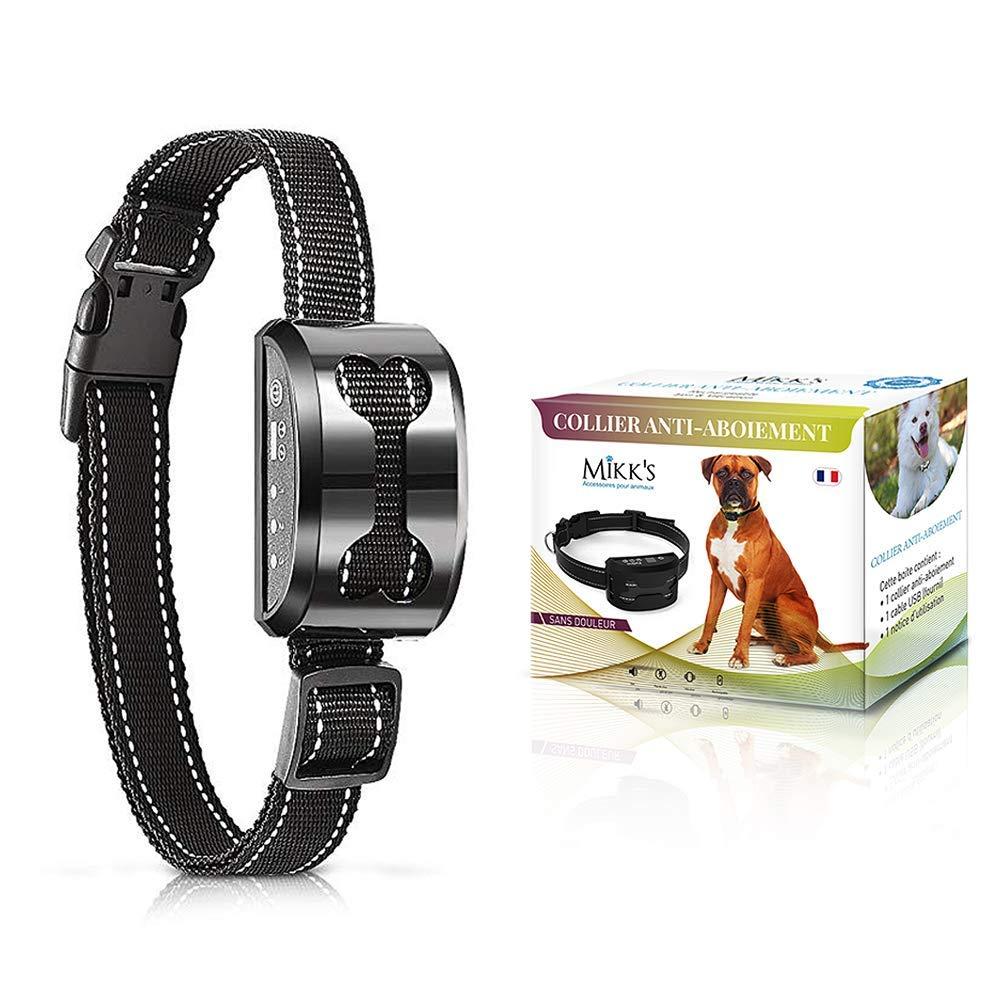 Collier Anti-Aboiement Chien - Dressage chiens de 3 à 50kg Inoffensif SANS CHOC ELECTRIQUE - Rechargeable & Sans Douleur - Son et Vibration - MANUEL EN FRANCAIS (Gris) product image